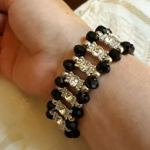 Swarovski Crystal And Onyx Bracelet